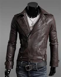 Casual Solid Oblique Zipper Lapel Long Sleeve Imitation Leather Men Jacket