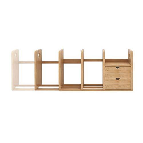 - XUERUI Shelves Shelf Desktop Bookcase Bamboo Extendable Desktop Storage Shelf with 2 Drawers for Desk Interior Decoration Book-Making Multifunction Storage Unit
