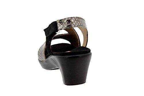 Komfort Damenlederschuh Piesanto 8861 keilsandalen herausnehmbaren einlegesohlen bequem breit Schwarz