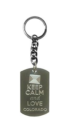 Hat Shark Keep Calm and Love Colorado State Logo - Metal Ring Key Chain Keychain