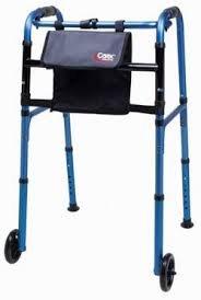 Carex Explorer Folding Walker with Wheels, Blue, Weight Capacity 300 lbs, 2 Per Case