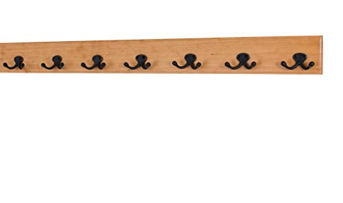 Solid Cherry Wall Mounted Coat Rack - Oil Rubbed Bronze Double Style Coat Hooks - Made in the USA (Natural, 36