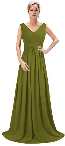4d2de00229642 VaniaDress Women V Neck Chiffon Long Bridesmaid Dress Prom Evening Gowns  V015LF Olive US8