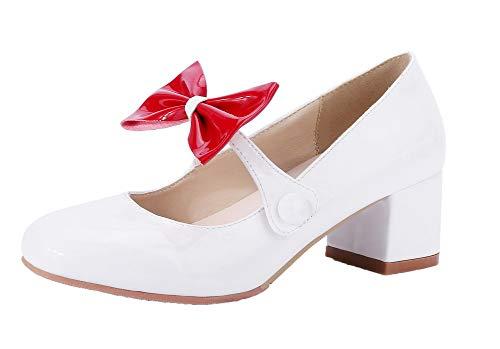 Légeres Couleurs Mélangées Talon Agoolar Blanc À Femme Gmbdb011001 Chaussures Verni Correct WqY8q7Xw