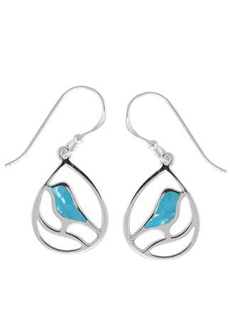 Boma Sterling Silver Turquoise Bird Earrings by Boma Jewelry