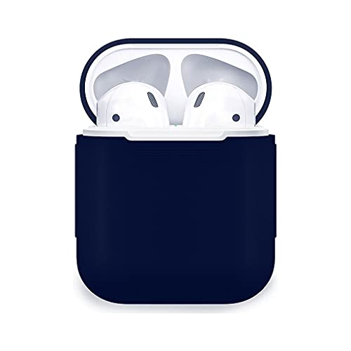 Protective Silicone Case Skin Cover Earphone Headphone Sleeve with Metal Latch Key Chain Clasp Buckle with Wireless Charging Supported for Apple Airpods 2 – (Blue)