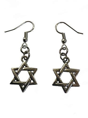 Pewter Jewish Faith Magen Star of David Nickel Free Earrings