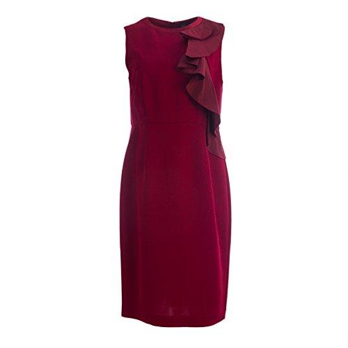 (MaxMara Pianoforte Women's Ogetti Ruffle Front Sheath Dress Sz 16 Ruby)