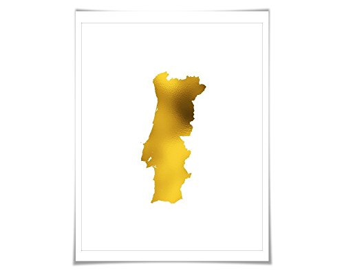 Portugal Map Gold Foil Art Print. 7 Foil Colours/3 Sizes. Travel Poster. Country Map Wall - Gold Hot Portugal