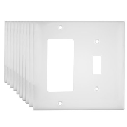 Decorator/Toggle Switch Wall Plate Combination Device by Enerlites 881131-W 10 Pack, 2-Gang, White, Standard Size, Unbreakable Polycarbonate, Replacement Receptacle Faceplates Outlet Cover (Switch Wall Replacement)