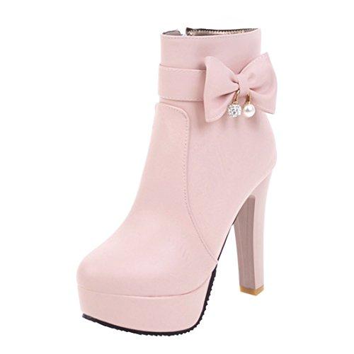 YE Damen Blockabsatz Ankle Boots Stiefeletten Plateau mit