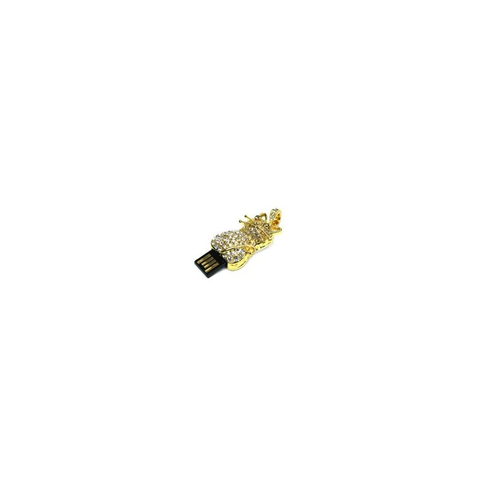 8GB Diamond Jewelry Cat Shaped USB Flash Drive Gold