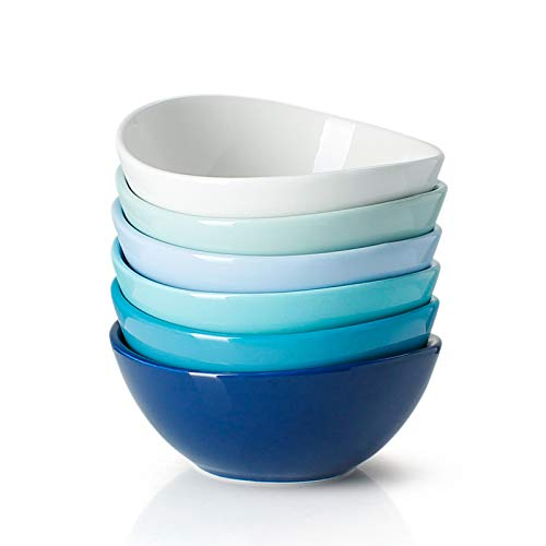 Sweese Porcelain Bowls - Set of 6, Cool Assorted Colors