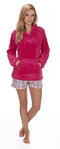 Forever Dreaming- Chaqueta de lana de pijama con cuello, para mujer,tallas S a XL Rosa