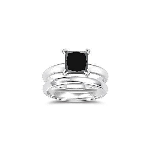 1.50 Cts Princess Cut Black Diamond Engagement and Plain Wedding (3mm comfort fit) Ring Set in Sterling Silver-9.5 (Comfort Fit Princess Cut Diamond)