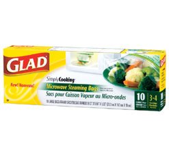 Glad New Simply Cooking Microwave Steaming Bags 70707 10 Bags Per Pack 3-4 Serving Portions (Microwave Plastic Bag)
