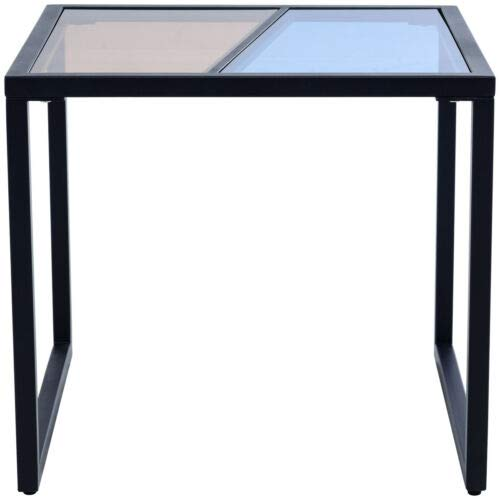 Tempered Glass Top Square Side End Table Metal Frame Living Room Furniture - Table Console Glass Demilune