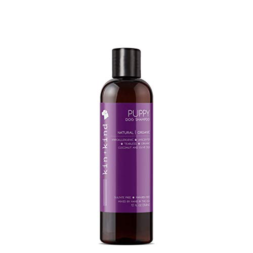 Ounce Shampoo Tearless 12 - kin+kind Puppy Shampoo: Tearless, Natural, Organic, Hypoallergenic, and Moisturizing for Puppies and Sensitive Dogs, 12oz