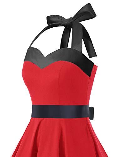 Audrey Dots Rockabilly Polka Black Dresstells® Dress Halter Retro Cocktail Red 50s wfaqnnZ4