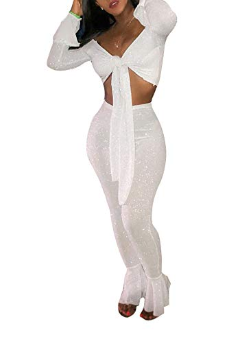 (Ophestin Women Off Shoulder Glitter See Through Long Flare Sleeve V Neck Crop Top Pants Set 2 Piece Outfits Jumpsuits White M)