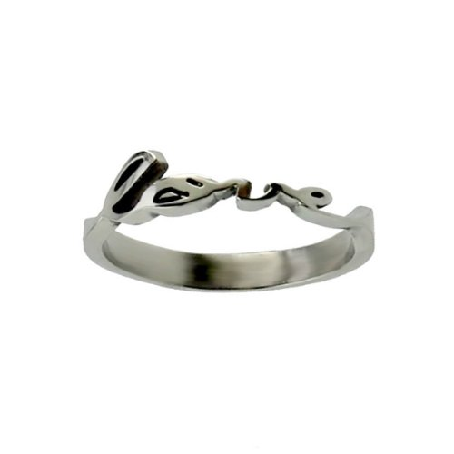 """UPC 130501134857, Christian Womens Stainless Steel Abstinence Cursive Cutout """"Love"""" 1 Corinthians 13:4, 8 Chastity Ring for Girls - Girls Purity Ring"""