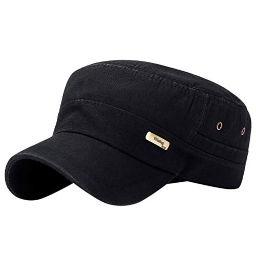 Fiaya Men Women Baseball Cap Snapback Hat Flat Roof Military Hat Cadet Patrol Bush Field Cap (1PC, Black Letter)