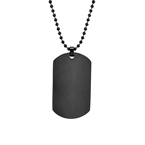 Eve's Addiction Black Plated Large Stainless Steel Dog Tag