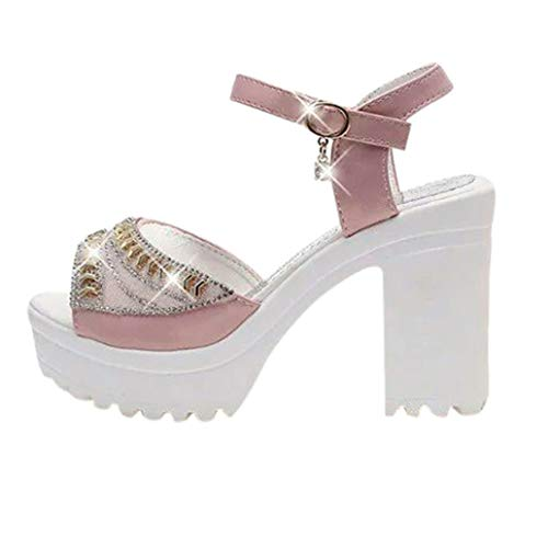 Loosebee Women's leather sandals rivets lace high heels thick with dew and dress ()