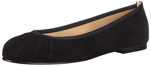 Suede Flats French Sole (French Sole FS/NY Women's Commute Ballet Flat Black 7.5 M US)