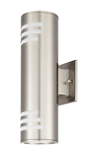 CP UL Wall Sconces Cylinder Outdoor Porch Lamp Garden Lights Simple Modern Style Stainless Steel 2 Lights Waterproof E27 Base for Outdoor Damp Locations, Brushed Nickel - Brushed Steel Wall Lamp