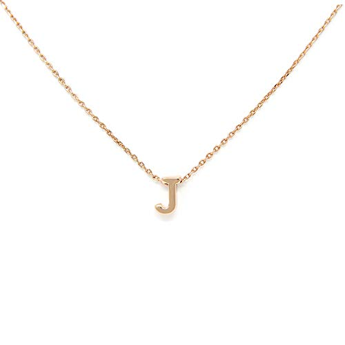 (Me Plus Petite Initial Letter Alphabet Pendant Charm Gold Dipped Necklace Gold Silver Rosegold (23 Letters) (J - Rose Gold) )