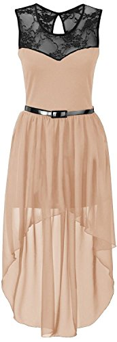 New Womens Plus Size Uneven Chiffon Dip Hem Lace Belted Prom Party Dress ( Peach, 2X )