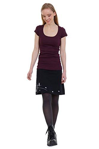 3Elfen Gonna donna nero vintage moda casual in cotone stampa fata da prato e vento Grigio