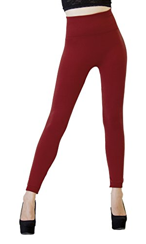 D&K Monarchy Women's Seamless Full Length Thick Leggings, Red/Compression Waist, 0-12