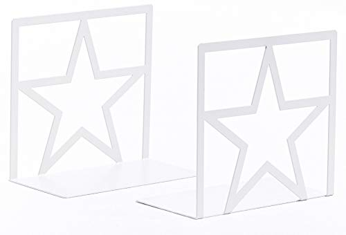 Geomod Decorative Star Metal Bookends (White, 1 Pair) Book Ends for Tables, Desks, Shelves   Fits Tall, Hardback Books