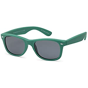 GAMMA RAY Classic Polarized Sunglasses for Kids Ages 5-10 – Green Frame Gray Lens