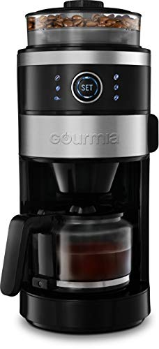 Gourmia GCM4850 Grind and Brew Coffee Maker with Built-In Burr Grinder | Adjustable Grind Size | Cup Selection Dial | Brew Strength Selection | Keep Warm Function | 6-Cup (Black)