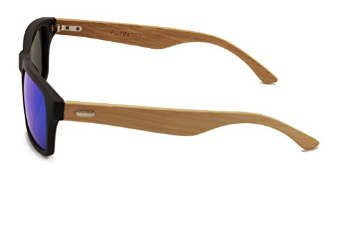 Rectangular Genuine Real Bamboo Wood Polarized Sunglasses With Reflective Mirror Tint 3 <p>These style eyeglasses are designed for both men and women and feature unique and stylish wooden arms. The lenses are polarized revo mirror and offer ultraviolet protection. The bamboo arms are rigid and strong, curving around the ear with a slight taper. The face of the glasses features a thick plastic frame that is flat. Quality lightweight frame that floats in water. Comes with it's own Vision World Microfiber Pouch Pass FDA inspection with impact resistance lens that meet ANSI280.3 UV protection standard. Frame Width: 142mm, Lens Height: 38mm, Lens Width:53mm Real bamboo wood temple withe metal hinges</p>