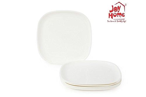 Joy Home Microwave Safe Full Plate 6 Pcs, Square, White