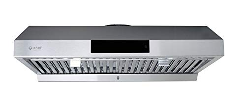 Hauslane | Chef Series 36″ Under Cabinet Range Hood, Stainless Steel | PS18 | Contemporary Modern Design 860 CFM, Touch Screen w/Digital Clock, Dishwasher Safe Baffle Filters, LED Lamps, 3-Way Venting