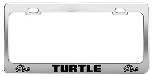 Turtle Picture Animal Lover Metal Auto Tag License Plate Frame (Sea Animal License Plate Frame)