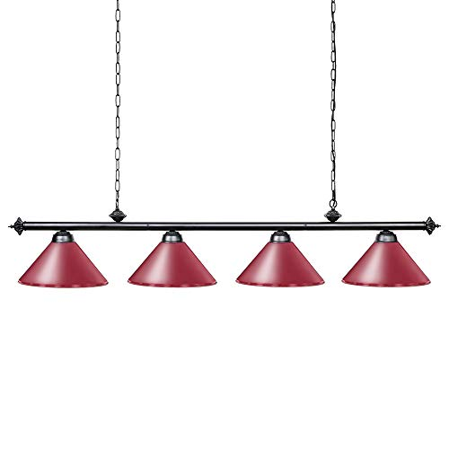 Wellmet Kitchen Island Lighting, 4 Light Ceiling Light Industrial Pendant Lighting Fixture with Matte Red Shade, 70 inch Pool Table Light for Game Room