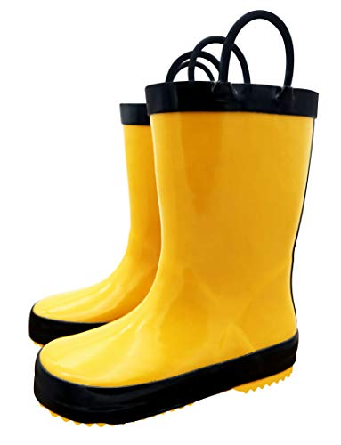 TQ Homebase Rubber Girls and Boys Rain Boots Yellow with Easy on Handles Toddlers Size 9 M