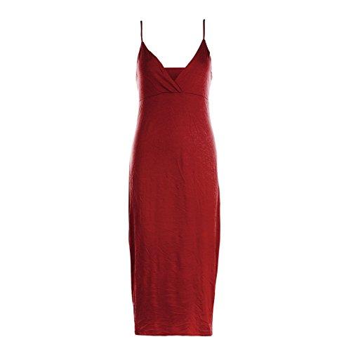 Damen Kleid Träger Wickeltop Körperform Sommer Freizeit Midi Kleid - Übergröße 44/46, Rot