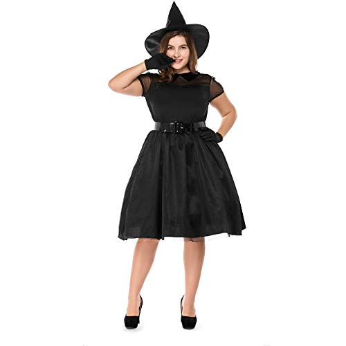 YaXuan 2018 Halloween Black Large Size Witch Costumes,Temperament Witch Night Ghost Fat Women's Halloween/Carnival Festival/Holiday (Color : Black, Size : XXL)
