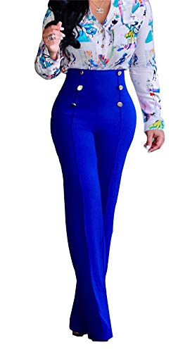 Women's Sexy Button Down Stretchy Straight Leg High Waisted Long Pants Flare Trousers