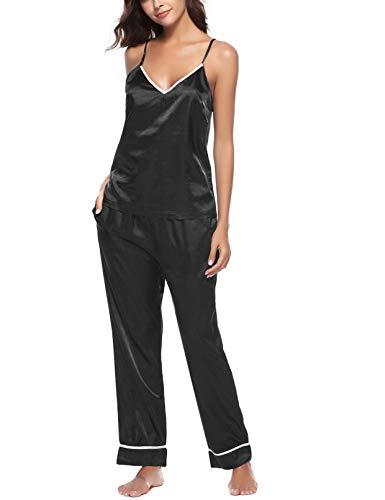 Romanstii Satin Pajamas Set Sleepwear Silk Nightwear Loungewear Lingerie Black -