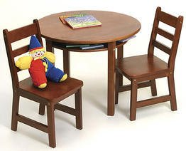 Lipper International 524C Child's Round Table with Shelf and 2 Chairs, Cherry Finish (Wood Cherry Chair Back Childrens)