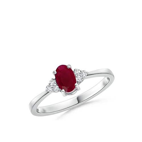 1.00CTW Oval Genuine Ruby and Diamond 7 Stone Ring in 10K White Gold (7) by Voss+Agin