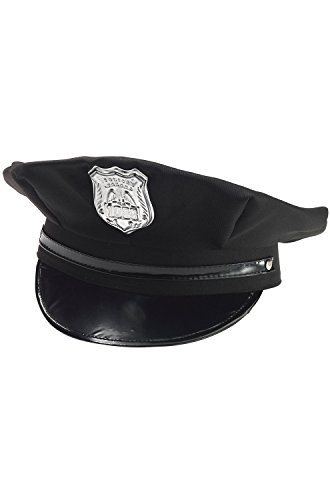 [Police Man Policeman Black Cop Hat w/ Badge Adult Costume Accessory Adjustable] (Cop Hat)